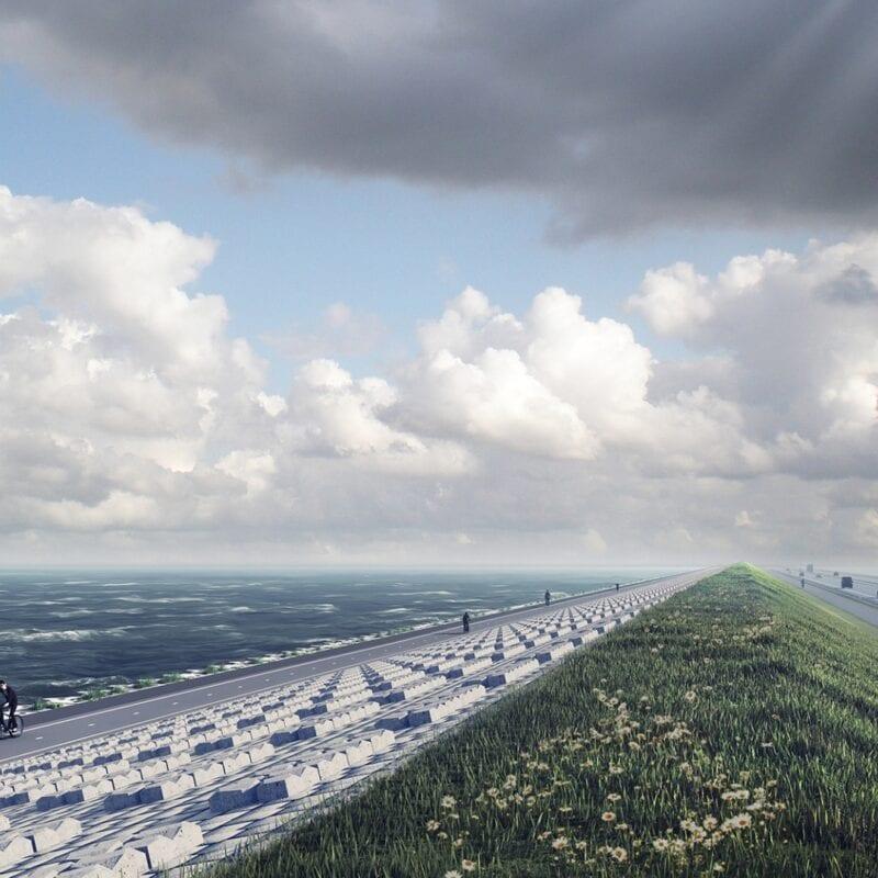 Eindruck des renovierten Afsluitdijk. Links sehen Sie den neuen Radweg mit einem Radfahrer. Sie sehen die neuen Levvelblocks auf der rechten Seite des Radfahrers. Daneben befindet sich ein Radweg und daneben die Autobahn.