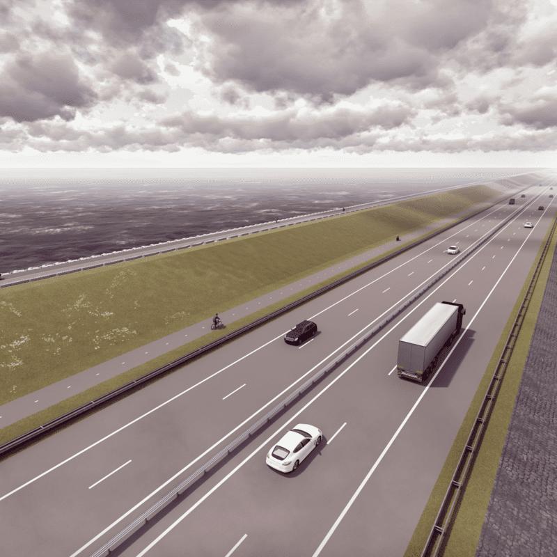 Dies ist ein neuer Eindruck des Afsluitdijk. Es ist eine optisch gezeichnete Straße mit ein paar Autos. Links sehen Sie einen Grasdeich. Darauf sehen Sie einen Radweg. Sie können Wasser auf beiden Seiten der Straße sehen.