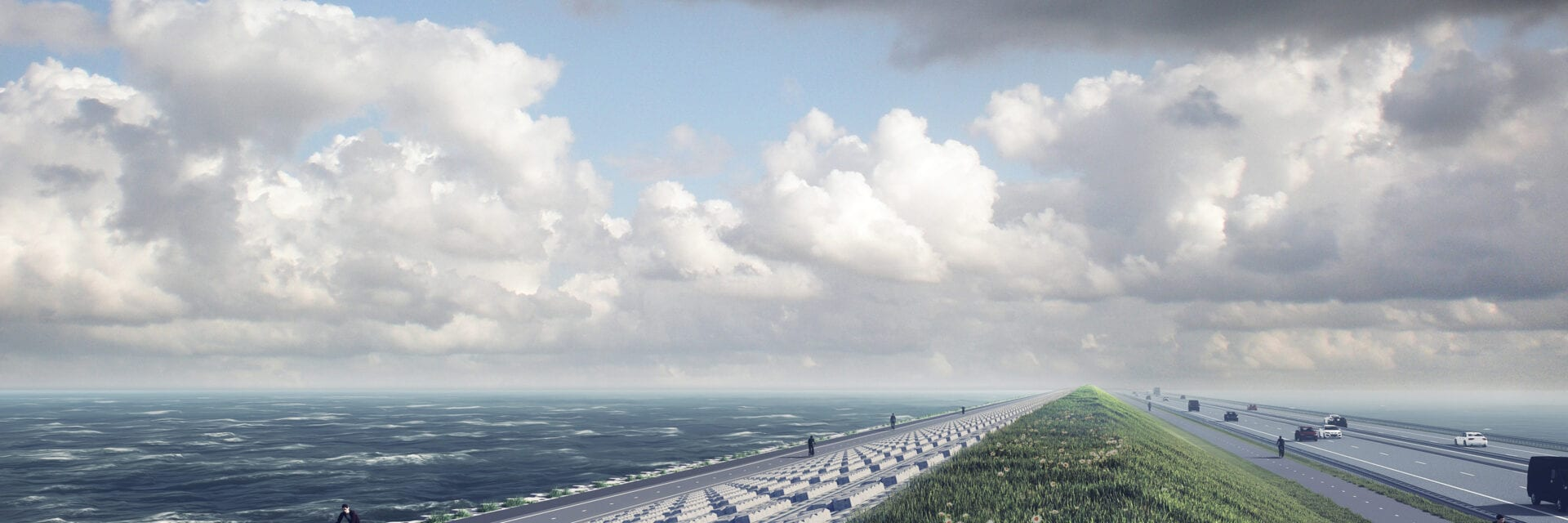 Impression of the renovated Afsluitdijk. On the left you see the new cycle path with a cyclist. You will see the new Levvelblocks on the right side of the cyclist. Next to it is a cycle path and next to it the motorway.