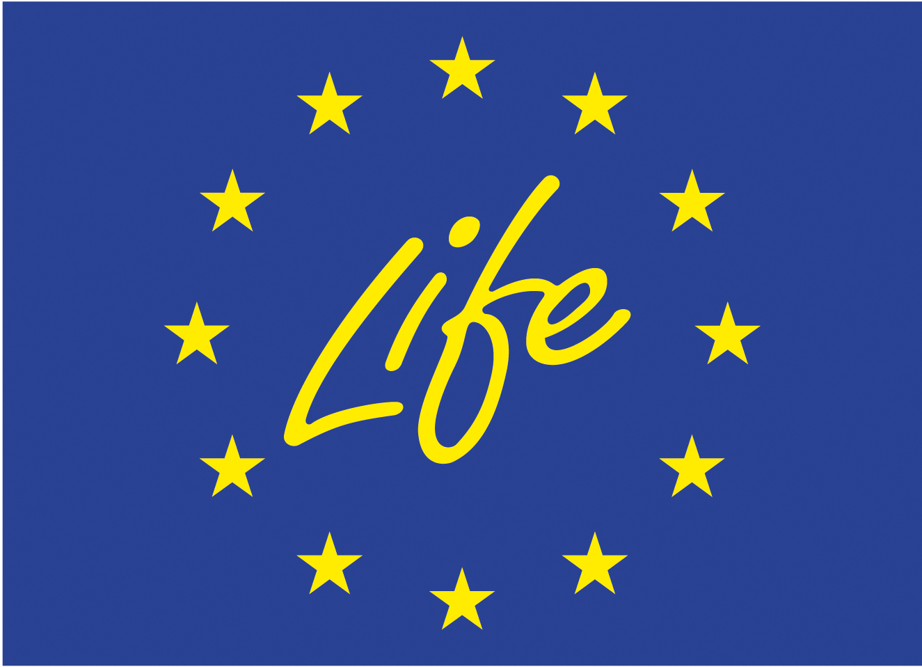 Logo of Life. This is a blue background with the word Life and yellow stars around it.