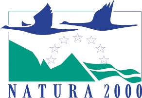 Logo Natura 2000. We see a white background with a blue-green block in it. Two blue geese are flying in the block. Below a drawn landscape and stars. There again under the blue text: Natura 2000.