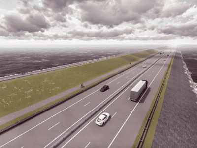 This is a new impression of the Afsluitdijk. It is a visually drawn road with a few cars. On the left you see a grass dike. You will see a cycle path on it. You can see water on both sides of the road.